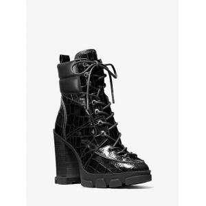 MICHAEL Michael Kors MK Ridley Crocodile Embossed Leather Lace-Up Boot - Black - Michael Kors