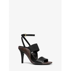 MICHAEL Michael Kors MK Nora Leather and Logo Sandal - Blk/brown - Michael Kors