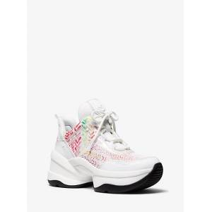 MICHAEL Michael Kors MK Olympia Mixed-Media Trainer - Opwht Multi - Michael Kors