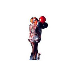 Star Cutouts IT IS A VERY Scary Female Clown Lifesize Cardboard Cut Out