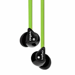 Veho Z1 Noise Isolating Stereo Earphones with Flat Flex Anti Tangle Cord - Green