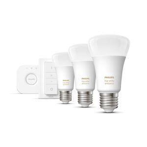 Philips Hue Verlichting Philips Hue White Ambiance Starterkit E27 (3 Lampen, 1 Dimmer + Bridge) 6.2 x 6.2 x 11 - wit