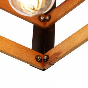 QAZQA Industriële plafondlamp zwart met hout 4-lichts - Paleta Mai