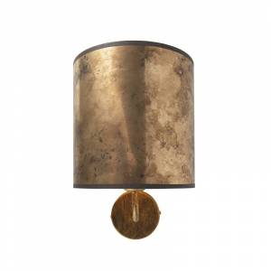 QAZQA Vintage wandlamp goud met brons velours kap - Matt