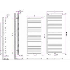 Blinq Altare S handdoekradiator 120 x 60 cm (H X L) grijs metallic