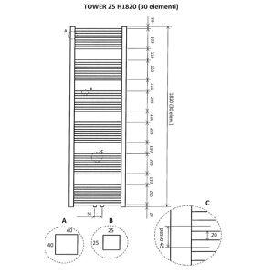 Wiesbaden Tower handdoekradiator 182 x 60 cm (H x L) antraciet