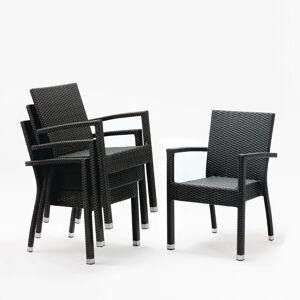 Bolero kunststof rotan stoel met armleuning antraciet - 4
