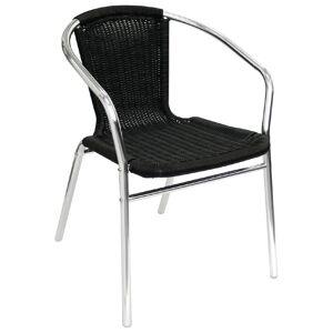Bolero aluminium en rotan stoel zwart - 4