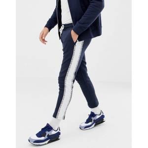 Jack & Jones Core Cropped Side Taping Joggers-Navy