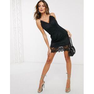 Missguided crochet plunge mini dress in black