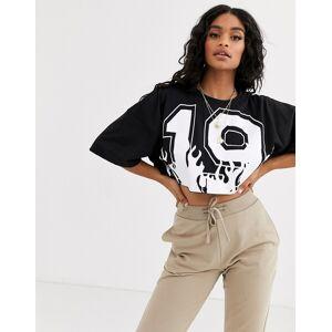 Missguided X Jordan Lipscombe oversized crop t-shirt-Black