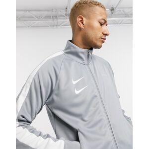 Nike Swoosh woven polyknit track jacket in grey