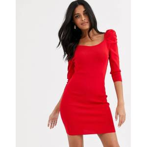 River Island puff sleeve knitted dress in red