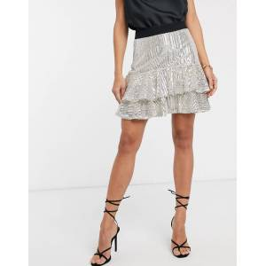 River Island tiered sequin mini skirt in silver