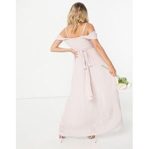 TFNC Maternity bridesmaid drape shoulder asymmetric maxi dress in mink-Pink