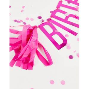 Ginger Ray birthday b balloons and bunting pack-Pink