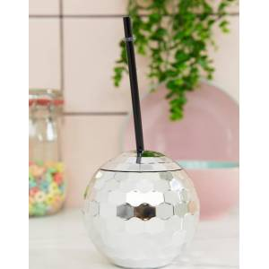 Talking Tables disco ball cup with straw-Silver