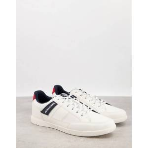 Jack & Jones trainers with side stripe logo in faux leather white