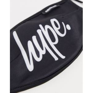 Hype face covering with adjustable straps in black