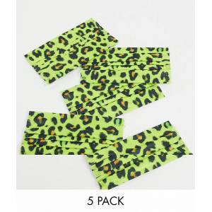Medipop unisex 5 pack face coverings in leopard print-Yellow