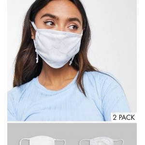 Skinnydip Exclusive 2 pack face covering with adjustable straps in plain white and marble print