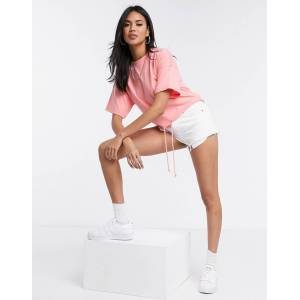 Missguided bubble hem crop t-shirt in coral-Pink