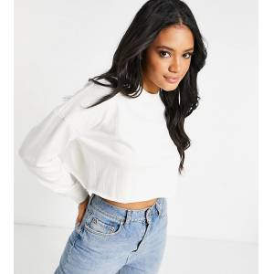 Missguided cropped sweatshirt in white