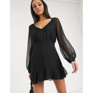 Missguided dobby long sleeve skater dress in black