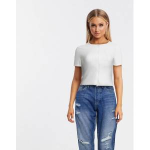 Missguided double zip ribbed short sleeve top in white