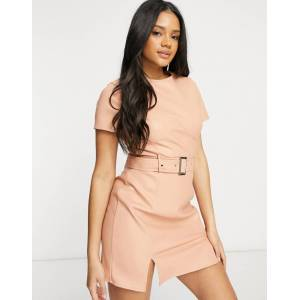 Missguided faux leather belted dress with bust detail in peach-Orange