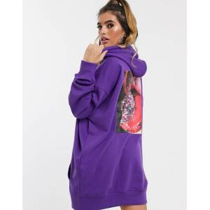 Missguided hoodie dress with back graphic in purple