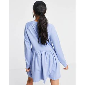 Missguided oversized smock sweater dress in blue