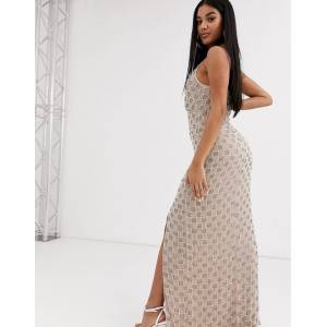 Missguided Peace and Love plunge embellished maxi dress-Silver
