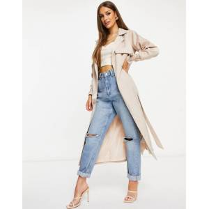 Missguided satin trench in champagne-White