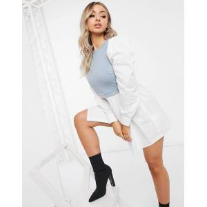Missguided shirt dress with sweater bodice in blue
