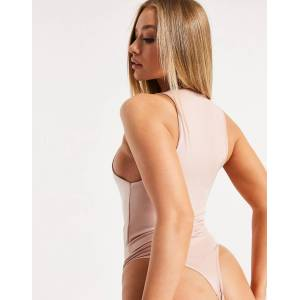 Missguided slinky racer neck bodysuit in blush-Pink