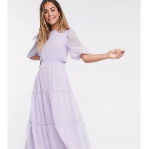 Missguided tiered maxi dress in lilac-Purple