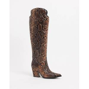 Jeffrey Campbell Amigos knee high boot in snake print leather-Multi