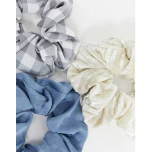 Accessorize 3 pack scrunchies in mixed blues
