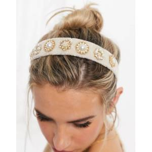 Accessorize pearl embellished headband in cream
