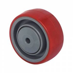 Polyurethaan wiel, rood op polyamide velg, kogellagers, vanaf 2 stuks