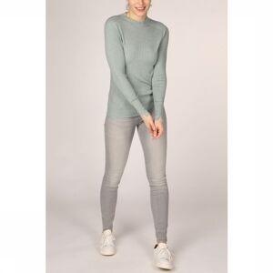 YAYA Trui Mix Ribbed Mock Neck Raglan Sleeves voor dames - Groen - Maten: XXS, XS, M, L, XL - Solden - Nieuwe collectie