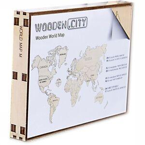 WOODEN CITY Wereld Kaart In Hout M - 2017