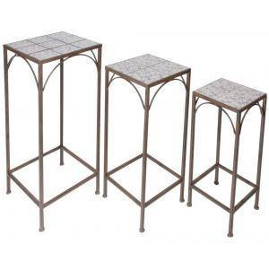 Esschert Design Plantentafel set van 3 Aged Ceramic blauw