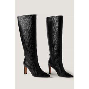 NA-KD Shoes Spitse Laarzen Met Losse Schacht - Black