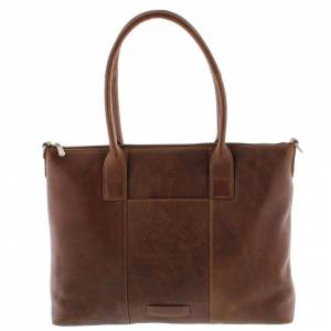 Plevier Dames Leather Tote Businessbag Parramatta 483 Cognac 15 inch