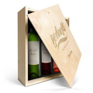 YourSurprise Wijnpakket in gegraveerde kist - Belvy - Wit, rood en rosé