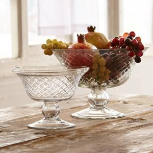 LOBERON Glazen schaal set van 2 Kadence