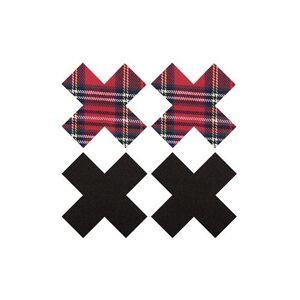 Peekaboo Peekabo 2 paar tepelstickers zwart en schotse ruit X