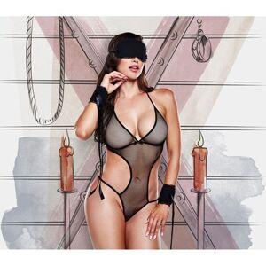 Love Slaves Monokini met oogmasker en handboeien (zwart)